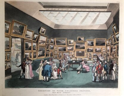 Rowlandson satyrical print, 'EXHIBITION OF WATER COLOURED DRAWINGS' 1808 -0