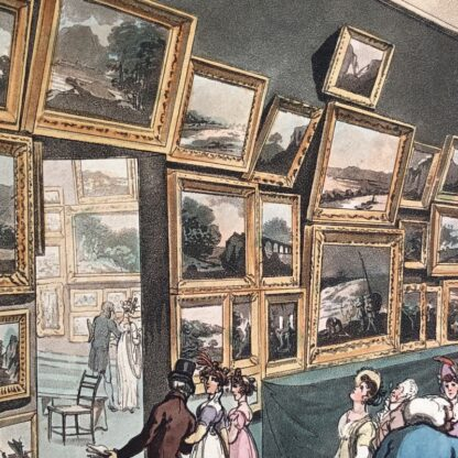 Rowlandson satyrical print, 'EXHIBITION OF WATER COLOURED DRAWINGS' 1808 -30684