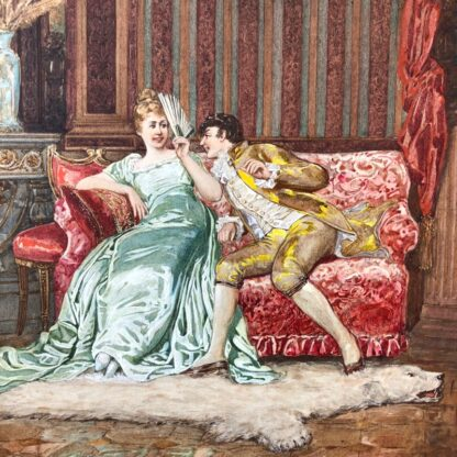 Pair of 'Belle Époque' watercolours, Romances in lush interiors, c. 1880 -30730
