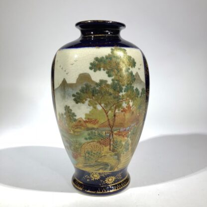 Satsuma vase, two panels, wisteria and lake scene, circa 1900 -0