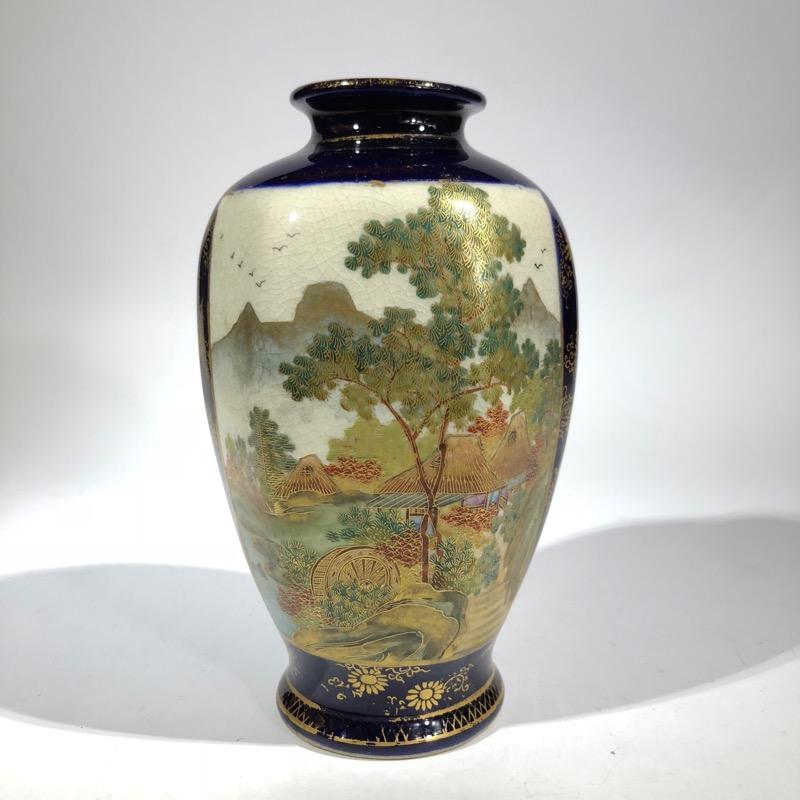 Satsuma Vase Two Panels Wisteria And Lake Scene Circa 1900