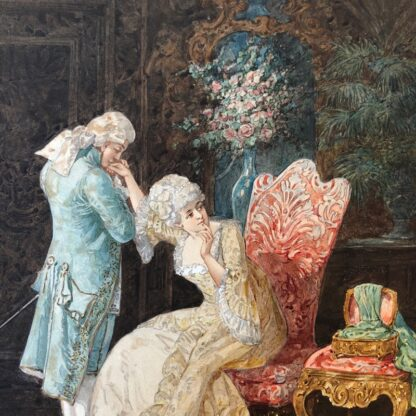 Pair of 'Belle Époque' watercolours, Romances in lush interiors, c. 1880 -30742