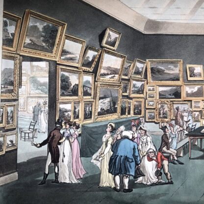 Rowlandson satyrical print, 'EXHIBITION OF WATER COLOURED DRAWINGS' 1808 -30681