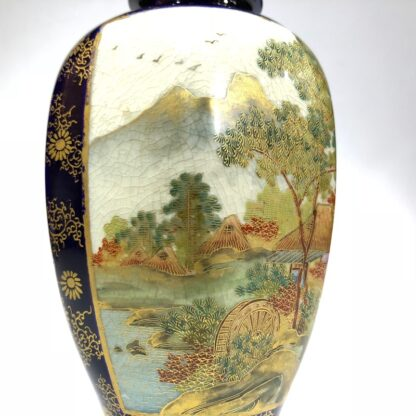 Satsuma vase, two panels, wisteria and lake scene, circa 1900 -30428