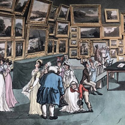 Rowlandson satyrical print, 'EXHIBITION OF WATER COLOURED DRAWINGS' 1808 -30682