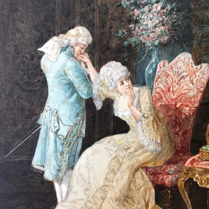 Pair of 'Belle Époque' watercolours, Romances in lush interiors, c. 1880 -30739
