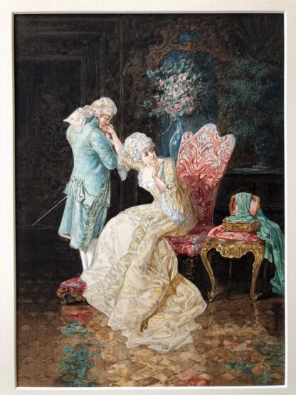 Pair of 'Belle Époque' watercolours, Romances in lush interiors, c. 1880 -30744