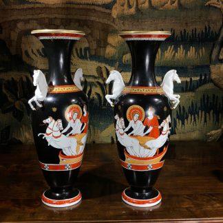 Pair of greek inspired vases, horse handles, circa 1878. -0