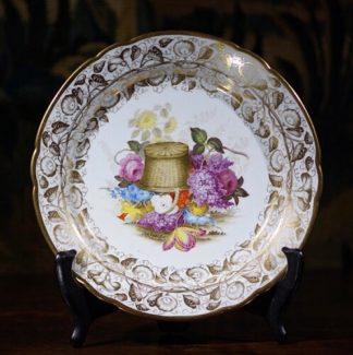 Herculanium porcelain plate, superb flowers & gilding, c.1820-0