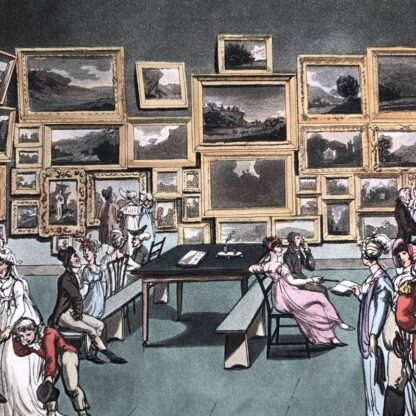 Rowlandson satyrical print, 'EXHIBITION OF WATER COLOURED DRAWINGS' 1808 -30683