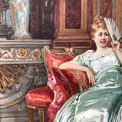 Pair of 'Belle Époque' watercolours, Romances in lush interiors, c. 1880 -30729