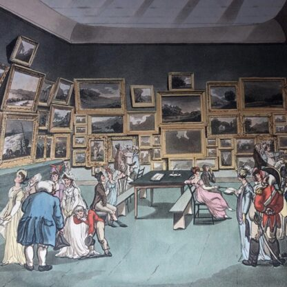 Rowlandson satyrical print, 'EXHIBITION OF WATER COLOURED DRAWINGS' 1808 -30678