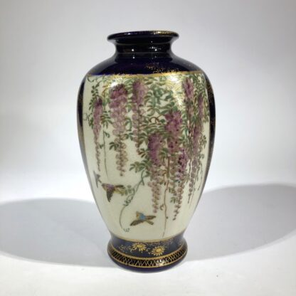 Satsuma vase, two panels, wisteria and lake scene, circa 1900 -30419