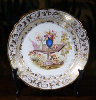 Herculanium porcelain plate, superb flowers & gilding, c.1820 -0