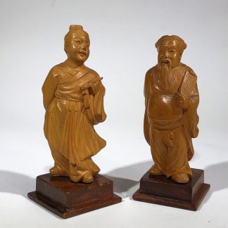 Pair of Chinese boxwood figures, 20th century-0