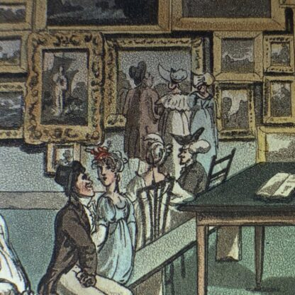 Rowlandson satyrical print, 'EXHIBITION OF WATER COLOURED DRAWINGS' 1808 -30673