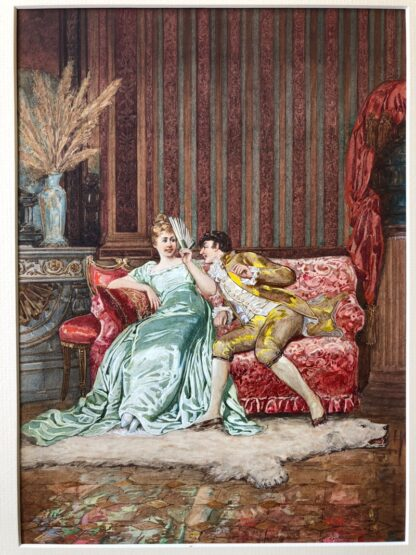 Pair of 'Belle Époque' watercolours, Romances in lush interiors, c. 1880 -30731