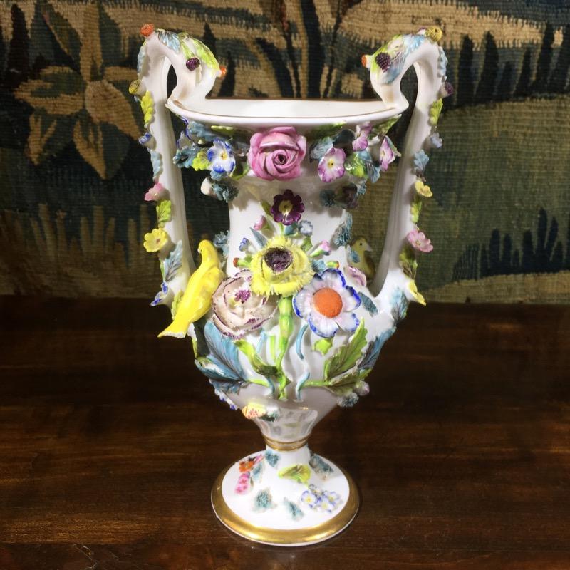 Spode Vase With Encrusted Flowers Canaries C 1820 Moorabool