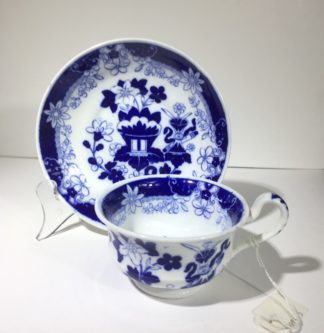 Hildich & Son cup & saucer, Etruscan shape, Chinese blue print, C. 1825-0
