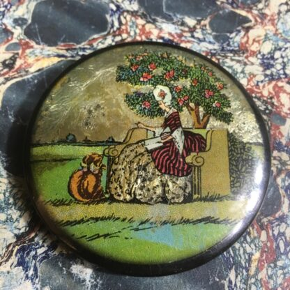 Small cosmetics mirror, hand painted screen on foil, c. 1935-0
