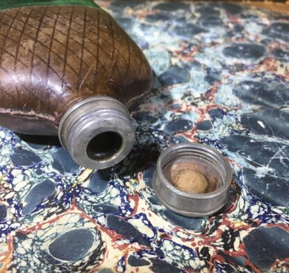 Small glass and leather flask, pewter lid, c. 1880-30193