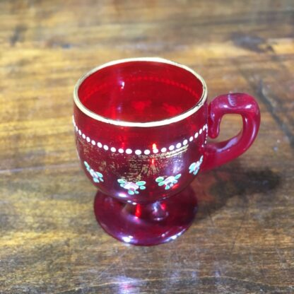 Small ruby glass Moser punch glass, gilt & enamel decoration c. 1930 -30321
