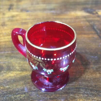 Small ruby glass Moser punch glass, gilt & enamel decoration c. 1930 -30317