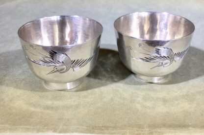Two Chinese Silver wine cups, engraved with cranes & pine, c. 1890. -30757