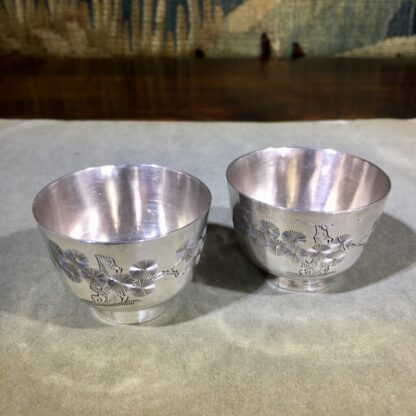 Two Chinese Silver wine cups, engraved with cranes & pine, c. 1890. -30759