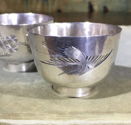 Two Chinese Silver wine cups, engraved with cranes & pine, c. 1890. -30761