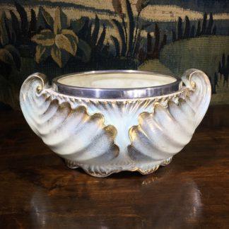 Pottery salad bowl, shell form, plated rim, Reg. 1897 -0