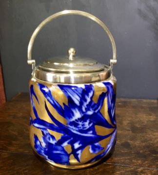 Forester biscuit barrel, bue flowers on gilt, c.1895. -0