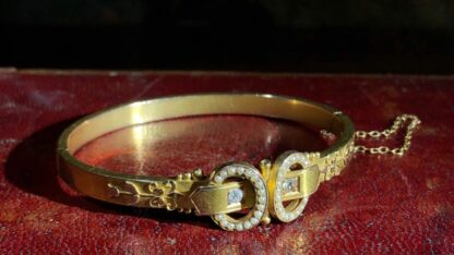 Australian Gold Diamonds & Pearls 'buckle' bracelet, Willis & Sons c.1895 -30837