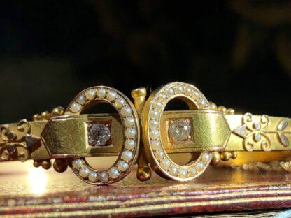 Australian Gold Diamonds & Pearls 'buckle' bracelet, Willis & Sons c.1895 -30831