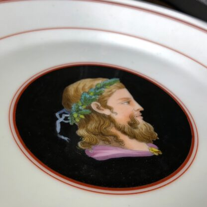 French porcelain plate, hand painted profile, c. 1870-30546