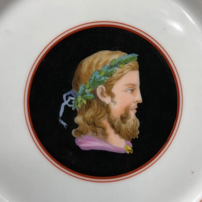 French porcelain plate, hand painted profile, c. 1870-30549