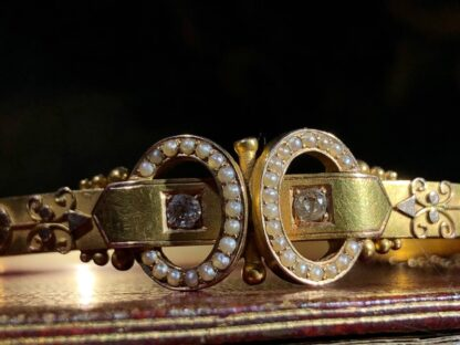 Australian Gold Diamonds & Pearls 'buckle' bracelet, Willis & Sons c.1895 -30836