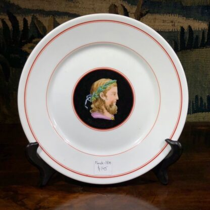 French porcelain plate, hand painted profile, c. 1870-0