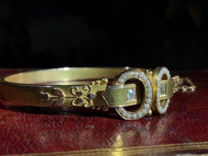 Australian Gold Diamonds & Pearls 'buckle' bracelet, Willis & Sons c.1895 -30833