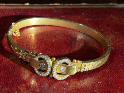 Australian Gold Diamonds & Pearls 'buckle' bracelet, Willis & Sons c.1895 -0