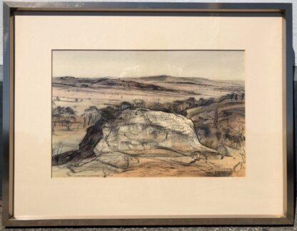 "Kenneth Jack pastel, ""Sacred Rock, Mootwingee"" c.1970 -0"