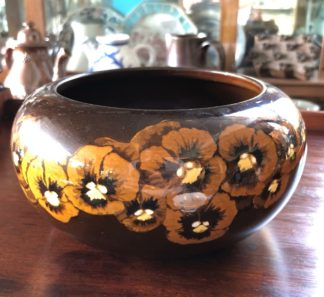 Arts & Crafts pottery 'Pansy' bowl, hand painted, c. 1930-0
