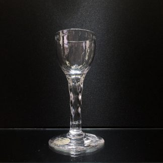Georgian wine glass, ogee bowl engraved with stars & moons, c.1790-0