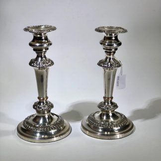 Pair of Old Sheffield Plate candlesticks, shell moulding, c. 1820. -0