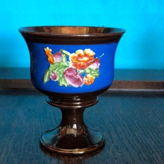 Victorian copper lustre goblet, raised flowers, c1860-0