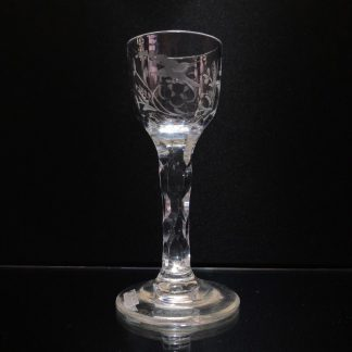 Georgian wine glass, trumpet bowl engraved with bird & flower, c.1790-0