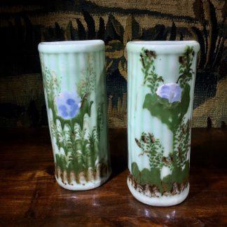 Pair of Japanese celadon glaze wall vases, garden plants, c. 1900. -0