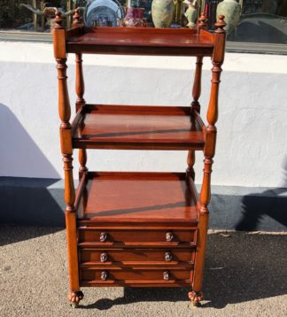 Early Victorian Mahogany square servery, 3 shelves & 3 fitted cutlery drawers, c.1855 -0