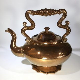 Unusual Victorian copper lustre kettle with overhead handle, c. 1865 -0