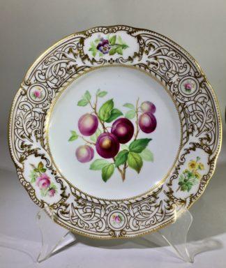 Minton plate, plums specimen & flower, 1852. -0